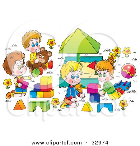 Clipart Illustration of Happy Children Playing With Blocks And Teddy Bears Around A Sand Box by Alex Bannykh