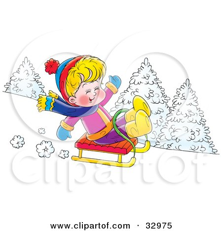 Clipart Illustration of a Happy Blond Boy On A Sled, Riding Downhill In The Snow by Alex Bannykh