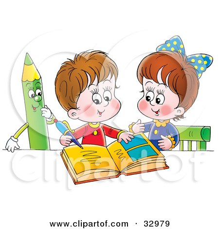 Clipart Illustration of a Little Boy And Girl Studying Together, A Green Colored Pencil Watching by Alex Bannykh