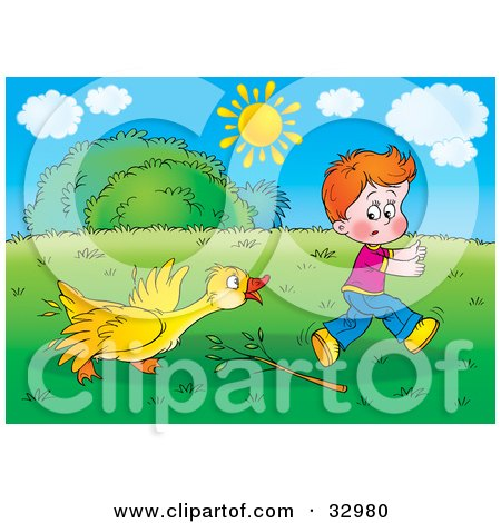 Clipart Illustration of a Yellow Goose Turning On A Boy After Being Poked At With A Branch by Alex Bannykh
