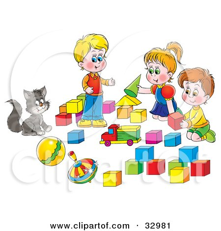 Clipart Illustration of a Cat Watching Two Boys And A Girl Play With Blocks by Alex Bannykh