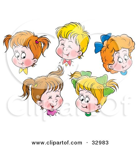Clipart Illustration of Happy Boys And Girls Giggling And Smiling by Alex Bannykh