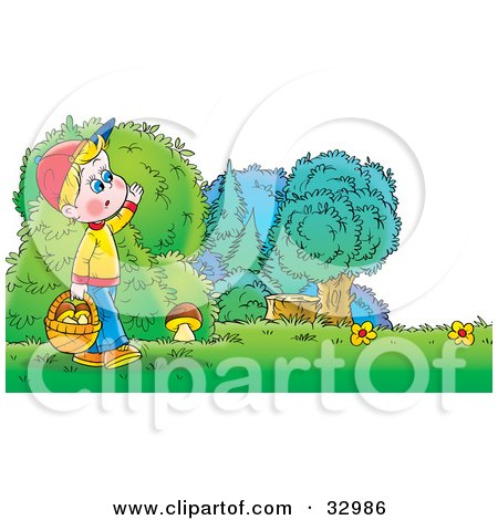 Clipart Illustration of a Boy Carrying A Basket Full Of Mushrooms While Searching For While Mushrooms by Alex Bannykh