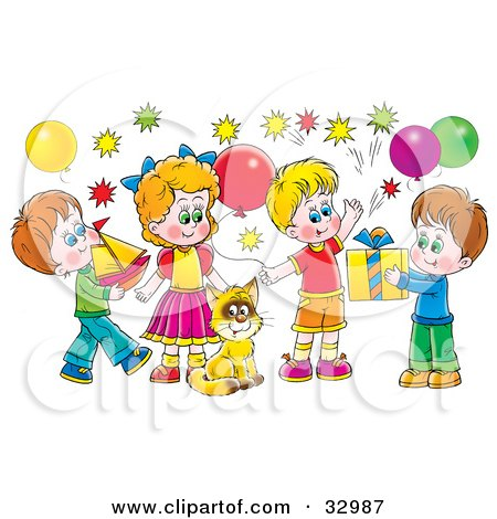 Clipart Illustration of a Cat Surrounded By Children And Balloons At A Birthday Party by Alex Bannykh