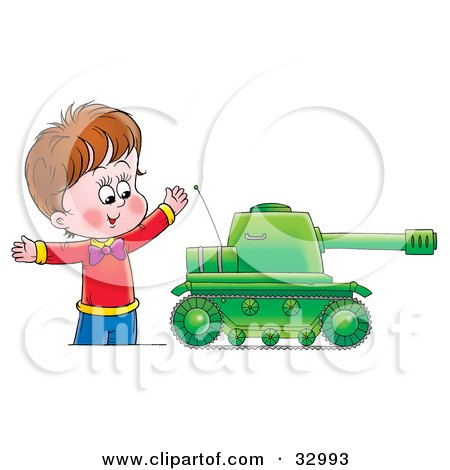 Clipart Illustration of a Happy Boy Playing With A Big Green Tank Toy by Alex Bannykh