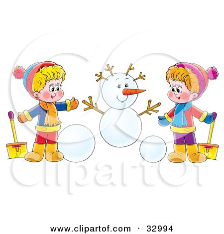 Clipart Illustration of a Boy And Girl Holding Shovels And Making A Snowman by Alex Bannykh