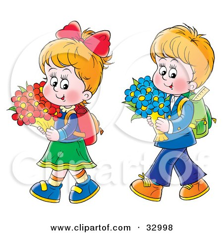 Clipart Illustration of a Little Boy And Girl Walking Home From School With Flowers by Alex Bannykh