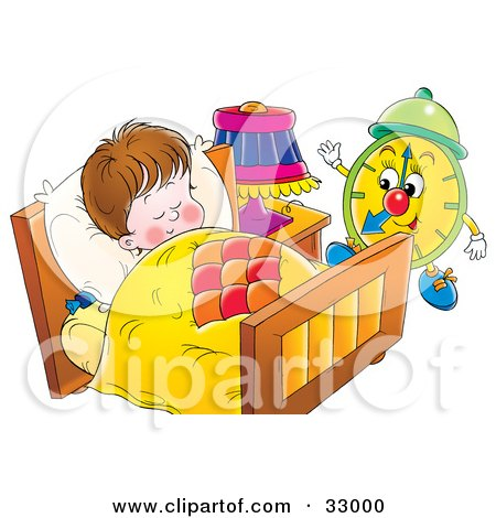 Clipart Illustration of a Green Alarm Clock Preparing To Wake A Sleeping Boy by Alex Bannykh