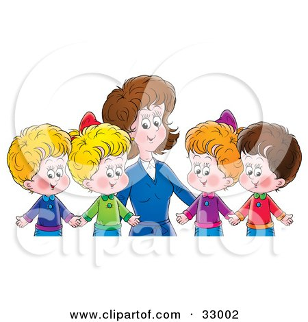 Clipart Illustration of a Mother Or Teacher Standing Behind Four Children Holding Hands by Alex Bannykh