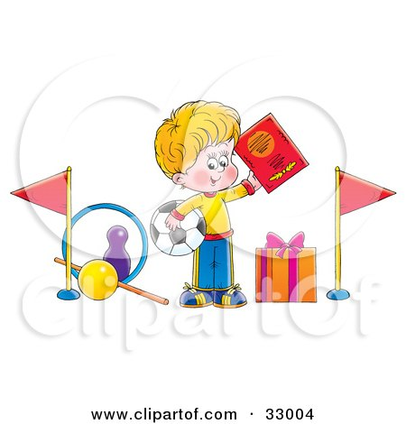 Clipart Illustration of a Sporty Little Boy Holding Up A Book And Soccer Ball, Surrounded By Sports Gifts by Alex Bannykh