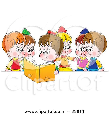 Clipart Illustration of a Girl Reading A Book Out Loud To Her Friends by Alex Bannykh