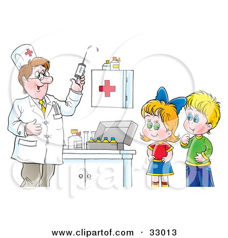 Clipart Illustration of a Doctor Preparing A Syringe For Shots While A Boy And Girl Watch by Alex Bannykh