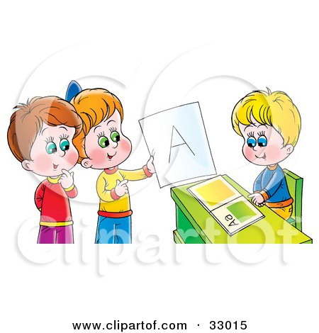 Clipart Illustration of a Boy Sitting At A Desk While Other Children Admire An A On A Report Card by Alex Bannykh