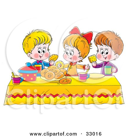 Clipart Illustration of a Girl And Two Boys Eating Bread And Bagels At A Picnic Table by Alex Bannykh
