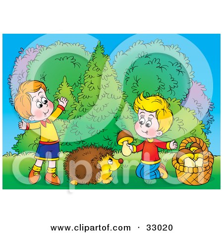 Clipart Illustration of Two Little Boys Giving A Hedgehog Mushrooms by Alex Bannykh