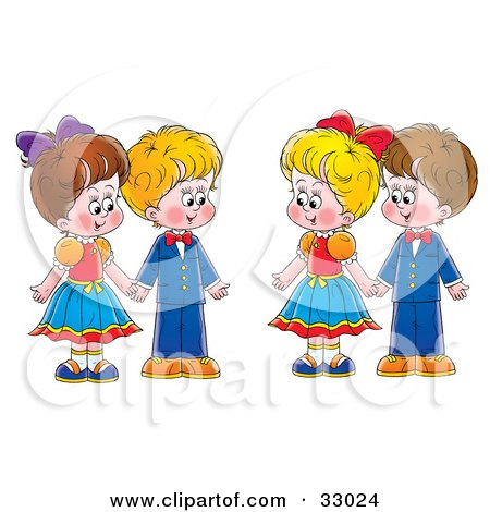 Royalty-free clipart picture of two couples, boys and girls, holding hands,