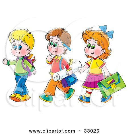 Clipart Illustration of a Girl Walking With Two Boys On The Way To School by Alex Bannykh