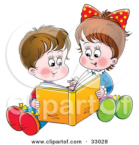 Clipart Illustration of a Sister And Brother Sitting On The Ground And Reading A Book Together by Alex Bannykh