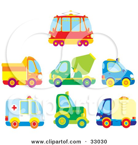 Clipart Illustration of a Bus, Dump Truck, Cement Truck, Police Car, Ambulance, Big Rig And Water Truck by Alex Bannykh