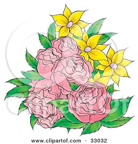 Clipart Illustration of a Bouquet Of Pink Roses And Yellow Flowers by Alex Bannykh
