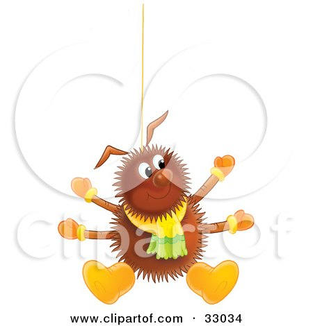 Clipart Illustration of a Happy Hairy Brown Spider Wearing A Scarf, Boots And Mittens, Suspended From A String by Alex Bannykh