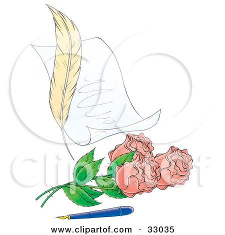 Clipart Illustration of a Feather Beside A Love Letter With Pink Roses And An Old Fashioned Ink Pen by Alex Bannykh