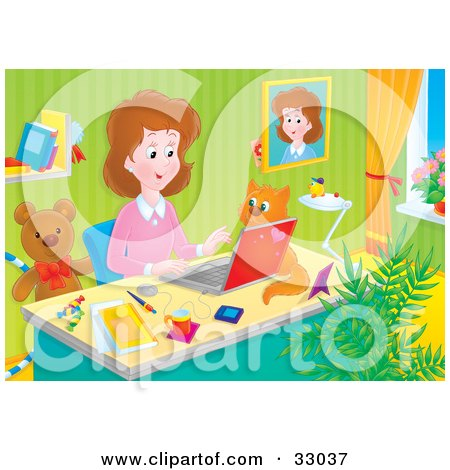 Clipart Illustration of a Stay At Home Mom Working At Her Desk On A Laptop In Her Home Office, A Cat Beside Her by Alex Bannykh