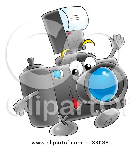 Royalty-free clipart picture of a happy digital camera with a flash