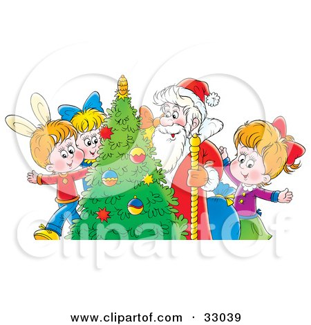 Clipart Illustration of a Group Of Children With Santa Around A Christmas Tree by Alex Bannykh