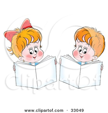 Clipart Illustration of a Little Boy And Girl Holding Up Books While Reading by Alex Bannykh
