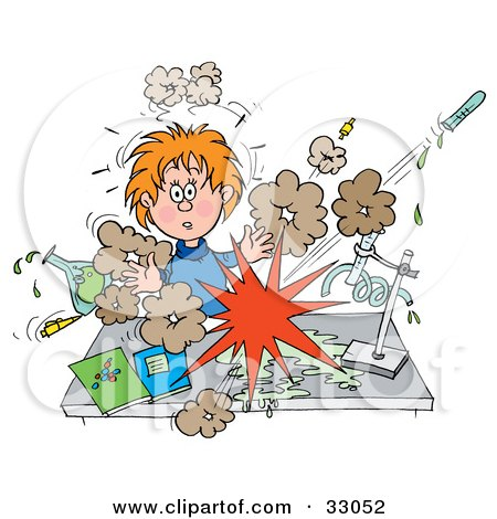 Clipart Illustration of a Shocked School Girl Conducting A Chemistry Experiment While Her Chemicals Explode by Alex Bannykh
