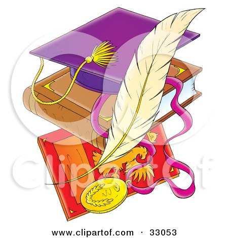 Purple Graduation Cap On A Book Over A Plaque With A Feather Posters, Art Prints