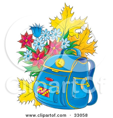 Blue Backpack Resting In Front Of Autumn Leaves And A Bouquet Of Flowers Posters, Art Prints