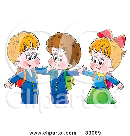 Clipart Illustration of Two Little Boys And A Girl Hugging by Alex Bannykh
