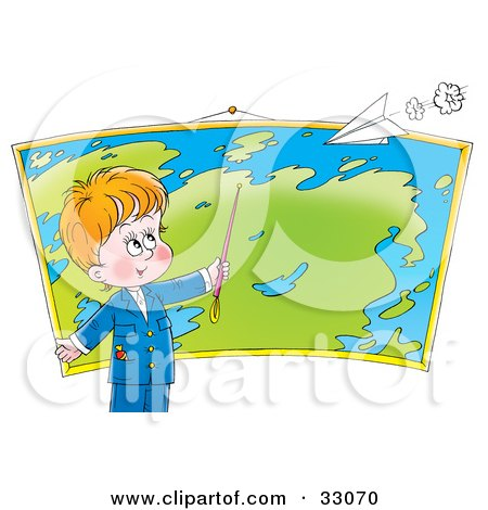 Clipart Illustration of a Smart Little Boy Pointing To A Location On A Map In Geography Class, A Paper Airplane Flying Above by Alex Bannykh