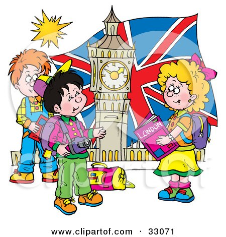 Clipart Illustration of a Group Of Children Touring London, Admiring Big Ben by Alex Bannykh