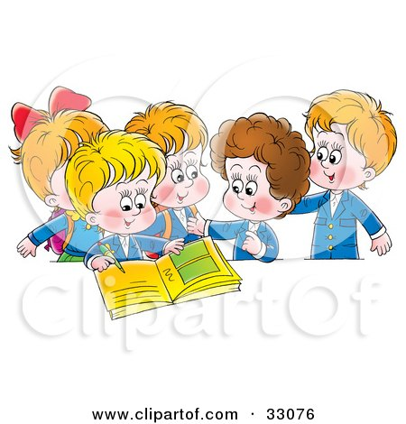 Clipart Illustration of a Group Of School Children Signing A Photo Album by Alex Bannykh