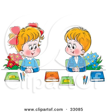 Clipart Illustration of a Boy And Girl In Uniforms, Sitting With Flowers And Books And Smiling At Each Other by Alex Bannykh
