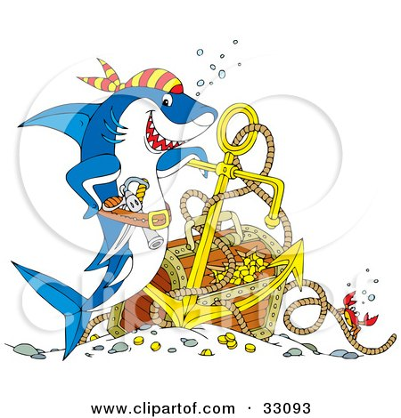 Clipart Illustration of a Crab On A Rope Near A Pirate Shark With Sunken Treasure by Alex Bannykh