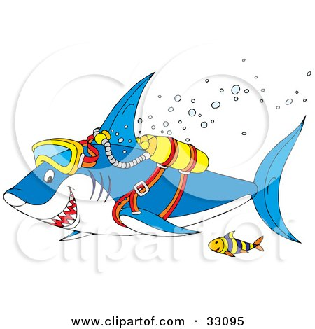 Clipart Illustration of a Fish And Shark Scuba Diving And Swimming With Bubbles by Alex Bannykh