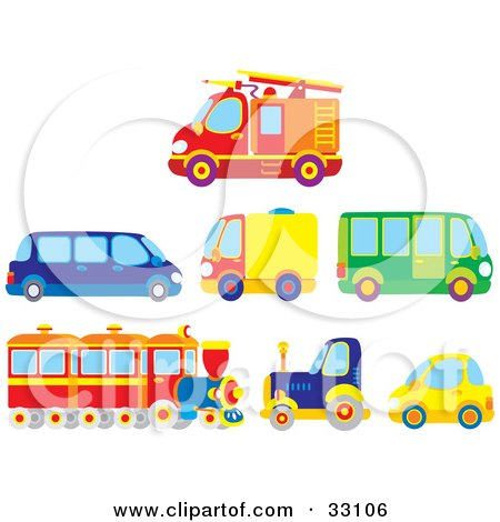 Clipart Illustration of a Firetruck, Limo, Moving Truck, Bus, Train, Big Rig And Compact Car by Alex Bannykh