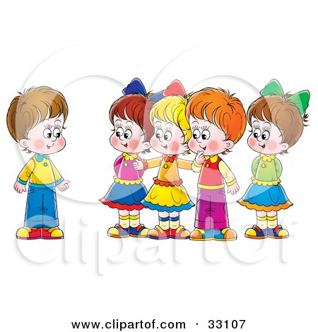 Clipart Illustration of a Group Of Children Welcoming A New Friend by Alex Bannykh