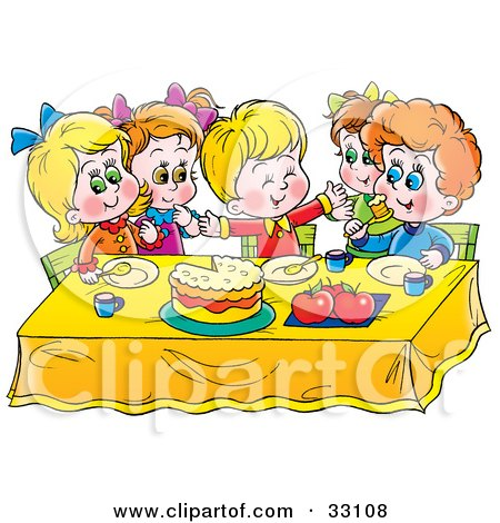 Clipart Illustration of a Group Of Children Eating Cake At ...
