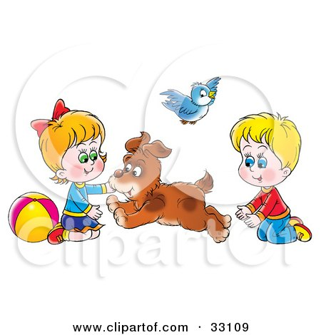 Clipart Illustration of a Dog Running Back And Forth Between A Brother And Sister by Alex Bannykh