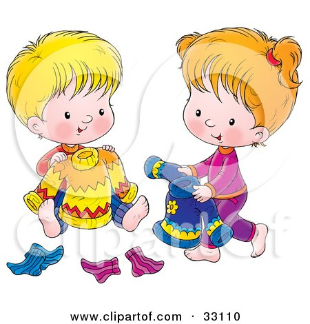 Clipart Illustration of a Boy And Girl Picking Out Sweaters And Socks To Wear For The Next Day by Alex Bannykh