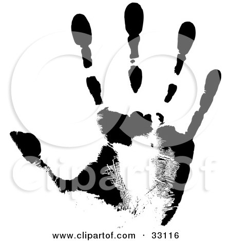 Clipart Illustration of a Black Hand Print Showing The Skin Patterns by elaineitalia