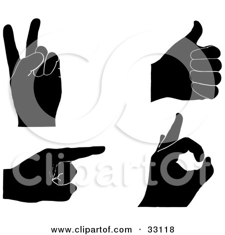 Clipart Illustration of a Set Of Four Black Silhouetted Hands Gesturing Peace, Thumbs Up, Pointing And OK by elaineitalia
