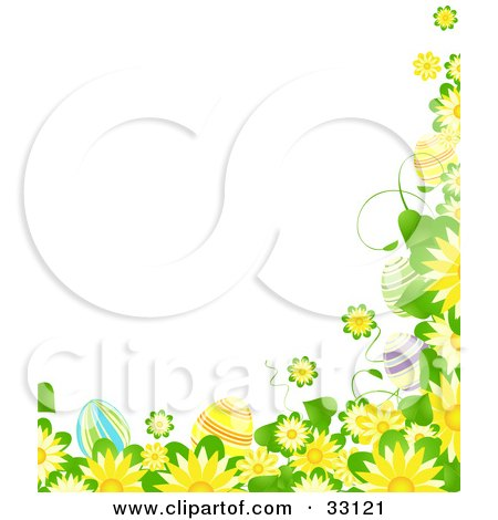 Yellow Flower Picture on Clipart Illustration Of A Border Of Yellow Flowers  Green Leaves And
