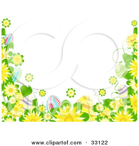 White Background Bordered By Yellow Flowers And Colorful Easter Eggs Posters, Art Prints
