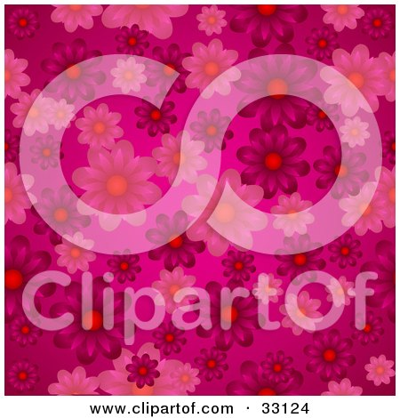 Clipart Illustration of a Pink Background With Pink And Purple Flowers by elaineitalia